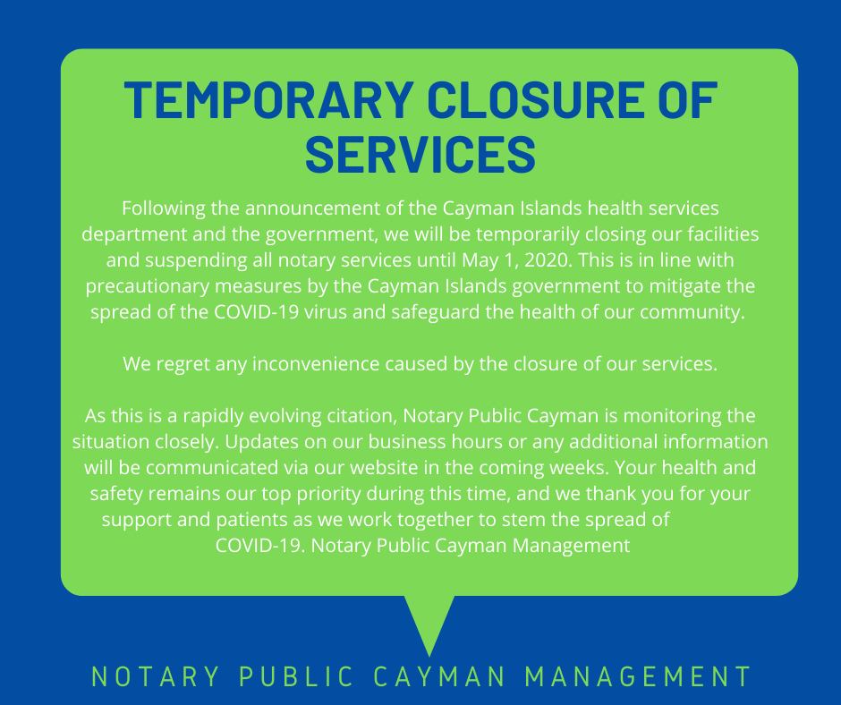 Temporary Closure of Services Due to COVID-19